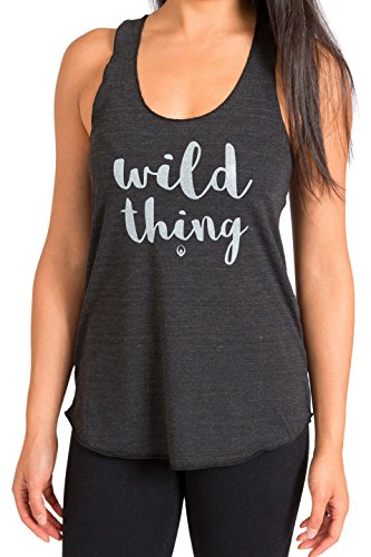 """Inner Fire """"Wild Thing"""" Yoga Racerback Tank Top, Small Charcoal Black"""