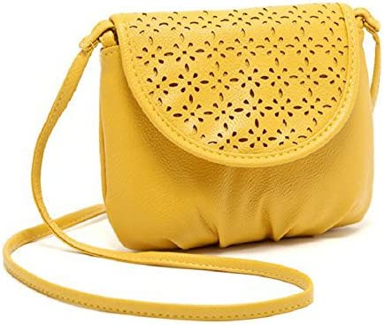 AYMIMII Women Leather Shoulder Bag Satchel Shoulder Bag Body of The Cross of The Messenger of Mini Tote Yellow