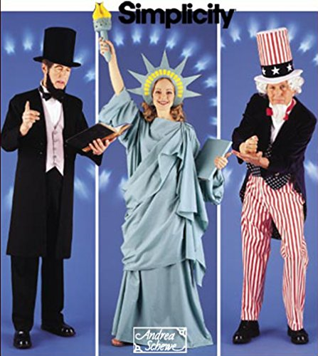 Statue Costumes (Simplicity Patriotic Costumes Pattern 5983 Abraham Lincoln Uncle Sam Statue Of Liberty Sizes XS S M L XL)