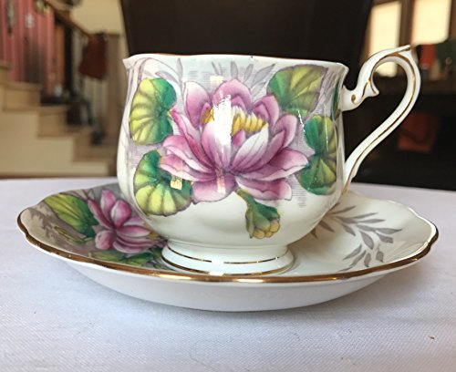 Royal Albert Bone China England Flowers of the Month Water Lily No. 7 Tea Cup & Saucer (Royal Albert Flower Of The Month Tea Cups)