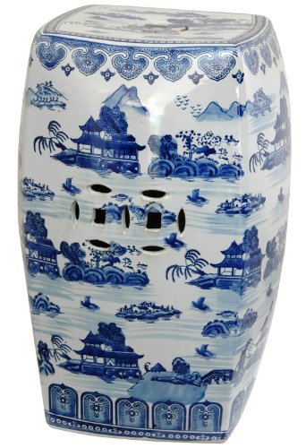 Oriental Furniture 18'' Floral Blue & White Porcelain Garden Stool by ORIENTAL Furniture (Image #4)