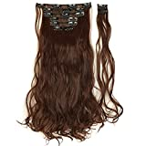 "17"" Long Curly Wavy Medium Brown Clip in 8 Pieces Full Head Set"