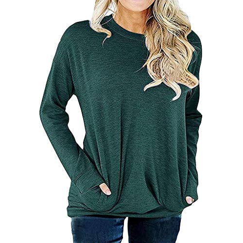 Women's Casual Long Sleeve Round Neck Sweatshirt Loose Soft Pockets Pullover Blouse Tops Tunics Green (Designs Gabby)