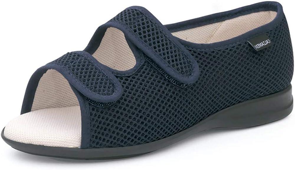 Zapatillas Unisex Marca CALZAMEDI, en Tejido Confortable Azul Marino,Doble Cierre Velcro,Horma 16.Mod.3058