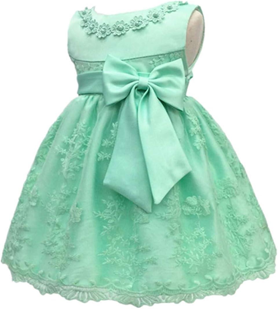 H.X Baby Girls Newborn Bowknot Gauze Christening Baptism Dress Infant Flower.