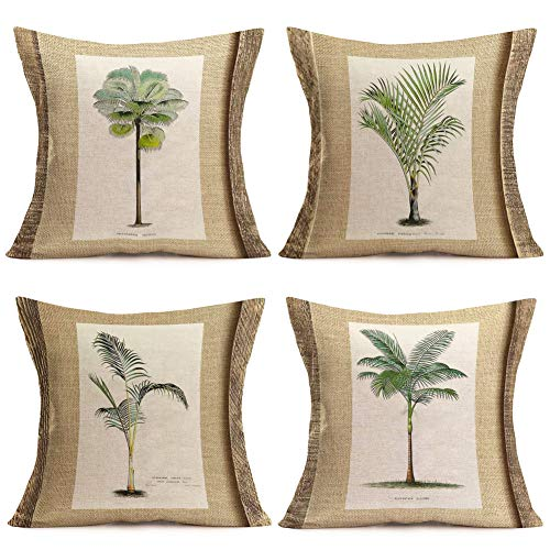Fukeen Set of 4 Tropical Paradise Plant Throw Pillow Case Coconut Palm Tree Decorative Burlap Cushion Covers Exotic Beach Style Home Office Decorations Cotton Linen Square 18
