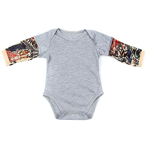 puseky Newborn Baby Tattoo Print Long Sleeve Romper Jumpsuit Bodysuit Clothes