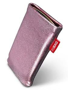 Groove Pink fitBAG-Funda con pestaña para Samsung F480, F480 V. piel de napa de calidad superior con forro de microfibra para limpieza de pantalla