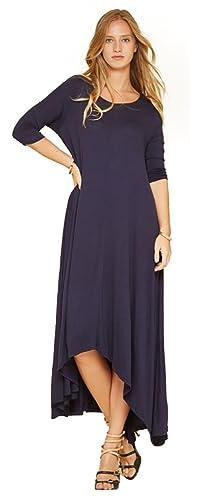 Tabeez Women's Long Casual Asymmetrical Oversize Handkerchief Hem 3/4 Sleeve Jersey Maxi Dress