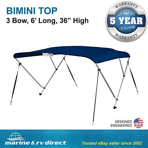 Bimini Top Boat Cover 36'' H X 67''-72'' W 6' Long 3 Bow Navy Blue by Marine and RV Direct