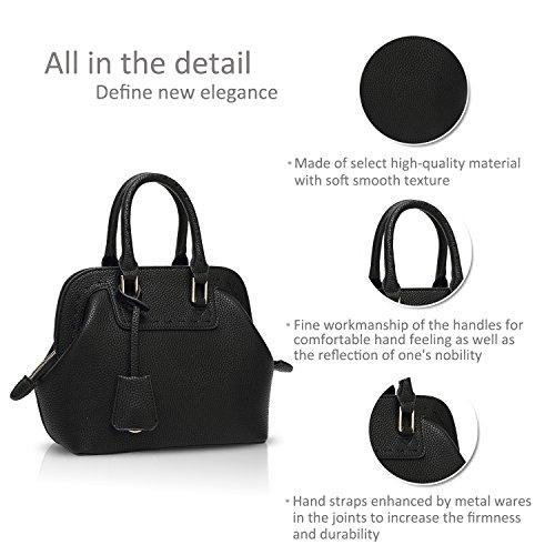 NICOLE&DORIS Mode Bolsos de Mano para Mujer Monederos Bolso Crossbody Mujer Bolso de Bandolera Pequeña Bolsa Durable PU Blanco Negro