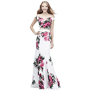 908bc4d808d310 Off-The-Shoulder Floral Printed Two-Piece Set Style J60465 at Amazon  Women s Clothing store