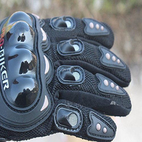 Pro-Biker Bicycle Short Sports Leather Motorcycle Powersports Racing Gloves (Black, L) by Sunflower (Image #1)
