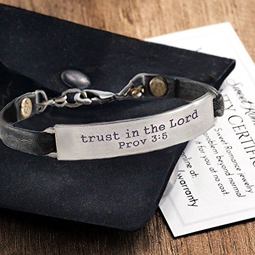 Sweet Romance Trust in the Lord Prov 3:5 Inspirational Leather Band Bible Message Bracelet (Black Leather) by Sweet Romance (Image #2)