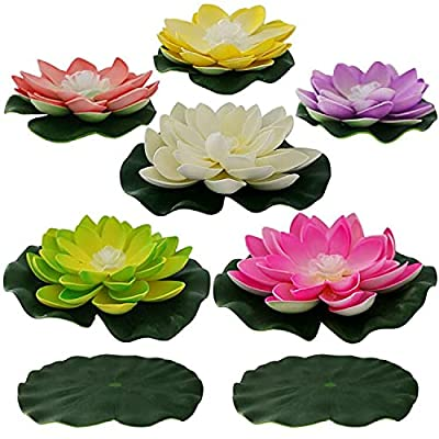 Floating Lotus Lights Water Lily Candles Light For Pool Festival Nigh 6 Pcs
