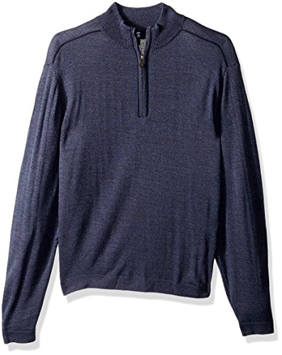 Cutter & Buck Men's Henry Marled Merino Wool Blend Long Sleeve Half Zip Sweater, Navy Blue, Large ()