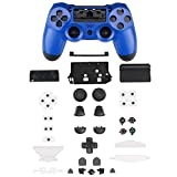 XFUNY PS4 Gamepad Skin Part Replacement Front Back Controller Shell Polished Glossy Cover Case Protective for Sony PlayStation 4 Game Controllers (Blue)