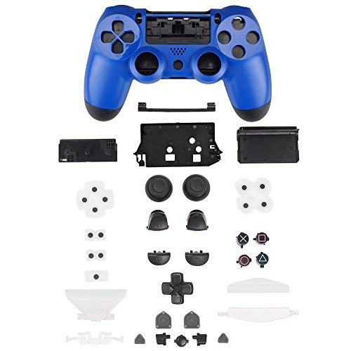 XFUNY Plastic Controller Housing Case Shell Cover for PS4 Controller [Plastic Cover + Rocker Cap + Key Cap] Replacement Part Skin Cover for Sony PlayStation 4 Grip Handle-Blue