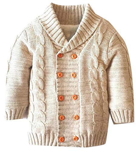 Etecredpow Boy Knitted Fleece Shawl Collar Double-Breasted Vogue Coat Jacket Cardigan Khaki 2T