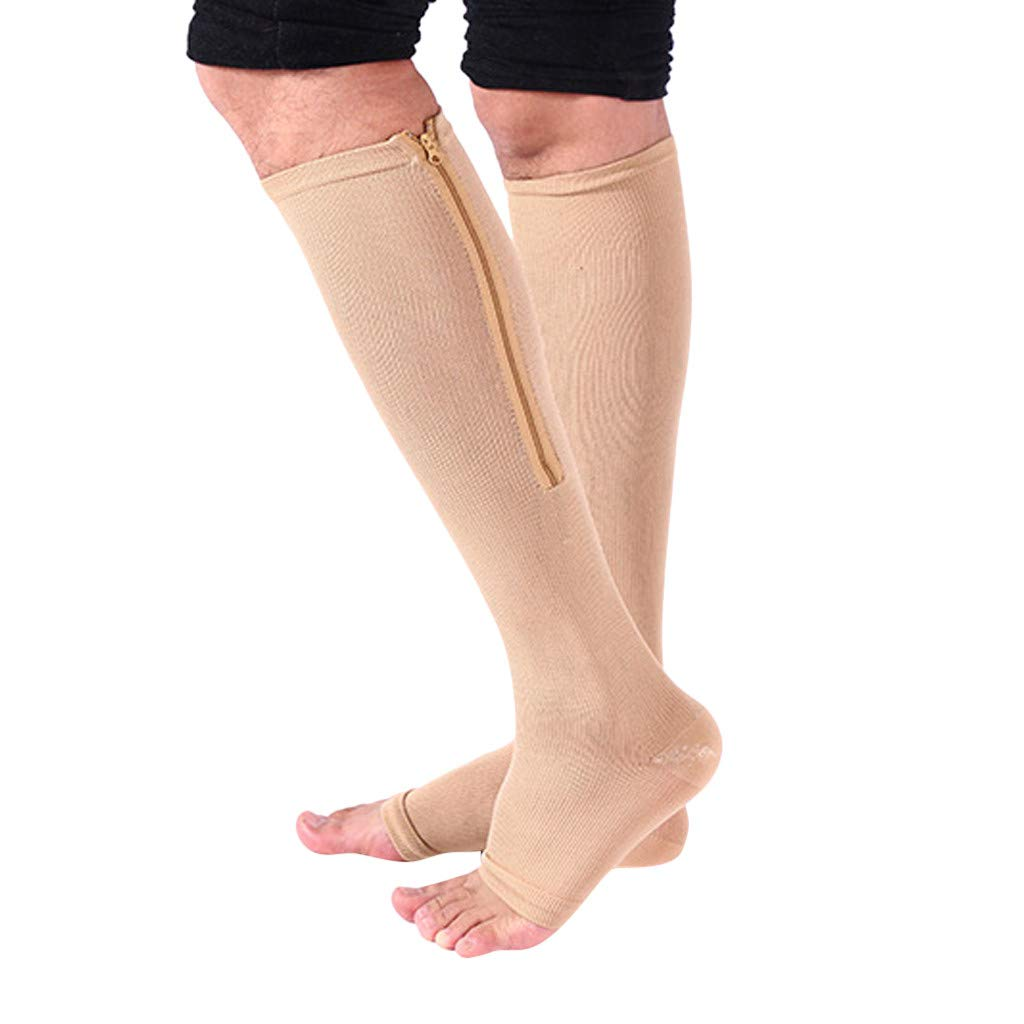 Compression Socks,Unisex Zip Socks Stretchy Leg Support Open Toe Knee High Stocking for Men Women 2 Pcs (Beige, L) by Appoi Socks