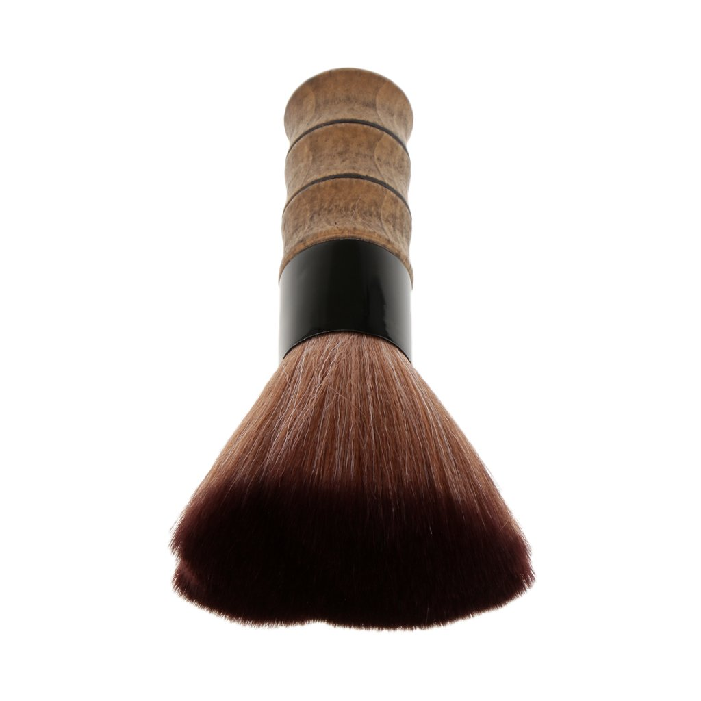 Dolity Portable Bamboo Handle Face Powder Makeup Brush Tool, High Quality Salon Hair Cutting Dust Powder Cleansing Shaving Brush Synthetic Hair - Brown, as described
