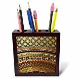 3dRose ph_155664_1 Gold-Look Stripe Pattern with Magen David Stars-Matte Middle Eastern Arabian Moroccan Abstract-Tile Pen Holder, 5-Inch