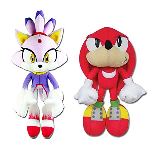 GE Animation Set of 2 Sonic The Hedgehog Blaze The Cat & Knuckles Stuffed Plush -