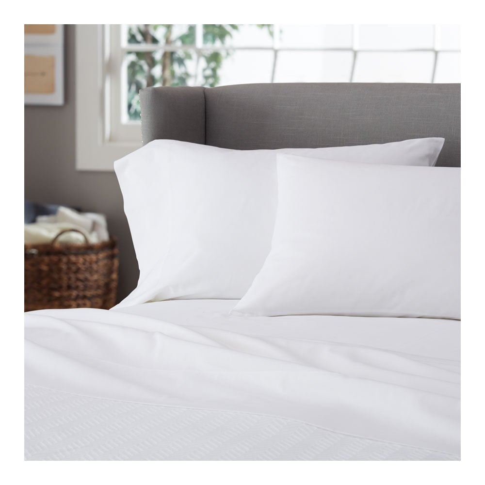 Flat Sheet 3 Pack ( 1 PC Flat & 2 Pillows ) Soft Italian Quality 400 TC RV Short Queen Size With Limited 20 Solid Color's ( White ) By Galaxy's Linen