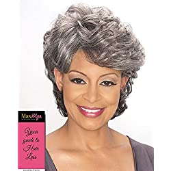 Emily Wig Color 3T34 - Foxy Silver Wigs Short Culry Shag Synthetic Full Top Soft Waves African American Women's Machine Wefted Lightweight Average Cap Bundle with MaxWigs Hairloss Booklet