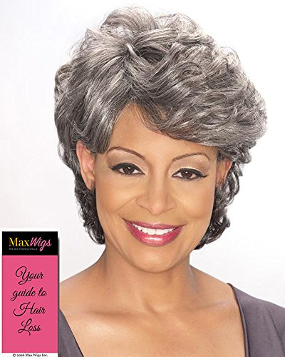 Emily Wig Color 1B - Foxy Silver Wigs Short Culry Shag Synthetic Full Top Soft Waves African American Women's Machine Wefted Lightweight Average Cap Bundle with MaxWigs Hairloss Booklet -