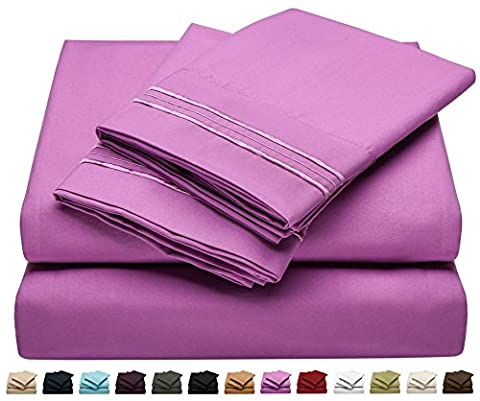 Twin Size Bed Shee tSet - Soft Brushed Microfiber Luxury Comfort Sheet Set - 1800 Thread Count Bedding Linens – Magenta Purple - Victoria Collection by Jessie - Magenta Twin Pack