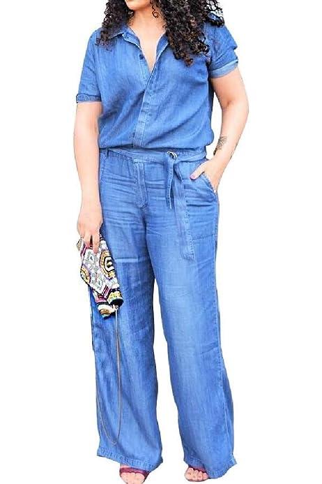 HEFASDM Womens Big Pockets Drawstring Casual Solid Workout Gym Jumpsuits Romper