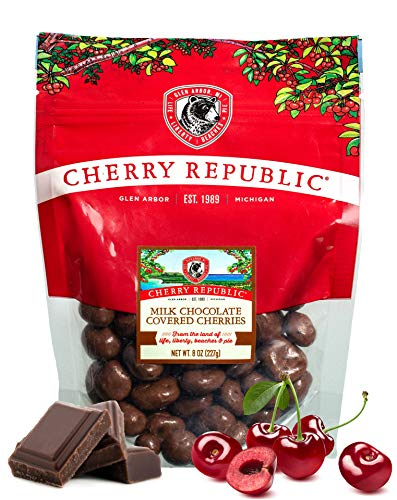 Cherry Republic Chocolate Cherries - Authentic and Fresh Chocolate Covered Cherries Straight from Michigan - Milk Chocolate, 8 Ounces