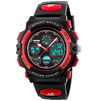 eYotto Kids Sports Watch Waterproof Boys Multi-Function Analog Digital Wristwatch LED Alarm Stopwatch from eYotto