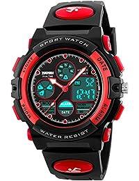 Kids Sports Watch Waterproof Boys Multi-Function Analog Digital Wristwatch LED Alarm Stopwatch Red