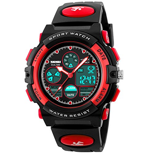 eYotto Kids Sports Watch Waterproof Boys Multi-Function Analog Digital Wristwatch LED Alarm Stopwatch Red (Best Gifts For Nine Year Old Boy)