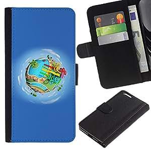 KingStore / Leather Etui en cuir / Apple Iphone 6 PLUS 5.5 / Parc Aquatique
