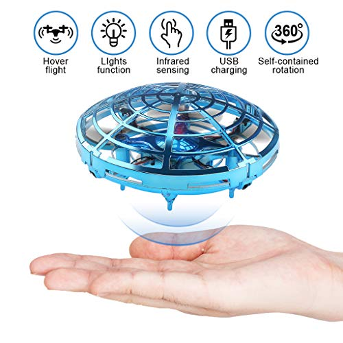 Flying Toys Drones for Kids Mini Drones with 2 Batteries Hand Controlled Flying Ball Drone Toys with 2 Speed and LED Light for Kids and Adults, Boys and Girls Toys S20 (Blue)