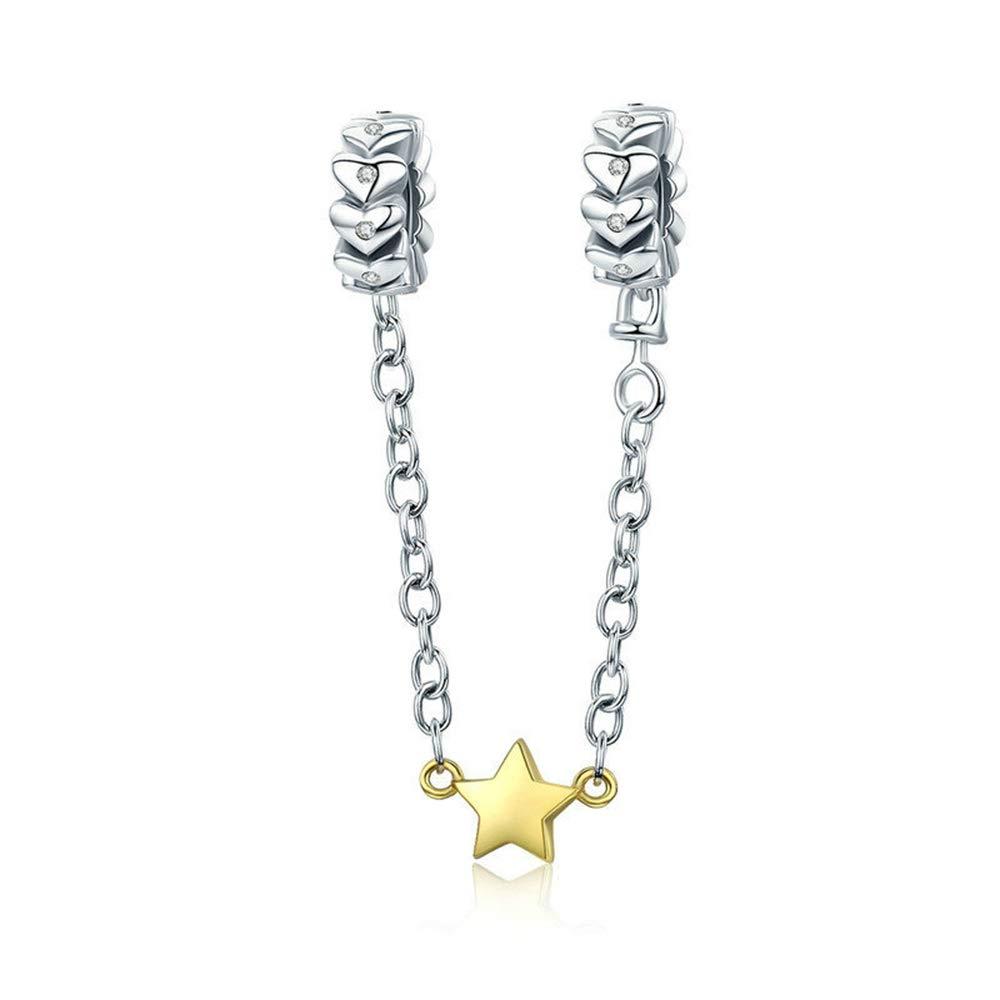 Reiko Chaine de Securité Étoile 925 Argent Charms Bricolage Perles Pour Filles, Cadeau De Noël Pour Femme Fille, Coffrets Cadeaux, Sans Nickel Cadeau De Noël Pour Femme Fille