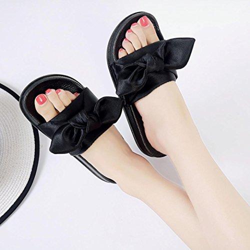 Omiky® Frauen Flip Flops Pantoffeln flache Sandalen Sommer Bow Beach Casual Schuhe Schwarz