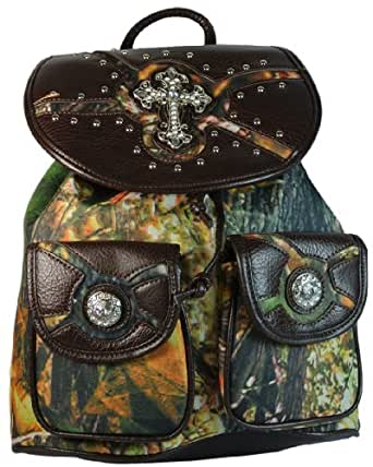 Texcyngoods Camo Backpack Western Purse Large Handbag wCross and Conchos Brown