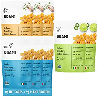 BRAMI Lupini Beans Snack, Variety Pack | 9g Plant Protein, 0g Net Carbs | 2.3 oz (8 Pack) | Vegan, Vegetarian, Keto, Mediterranean Diet, Non Perishable