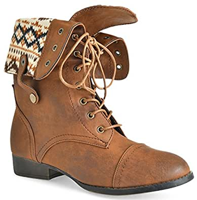 Women's Ankle Lace Up Combat Boots Bootie Two Way Fold Down Low Heels