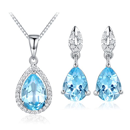 (JiangXin Natural Sky Blue Topaz Gemstone 925 Sterling Silver White Gold Plated Fine Jewelry Set for Women Pendant Necklace Stud Earring)
