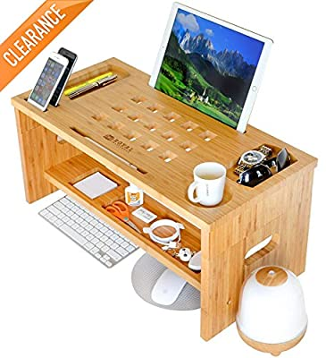 "Royal Craft Wood Monitor Stand with Riser, Storage Organizer Bamboo, 3.5"" or 12"" High"