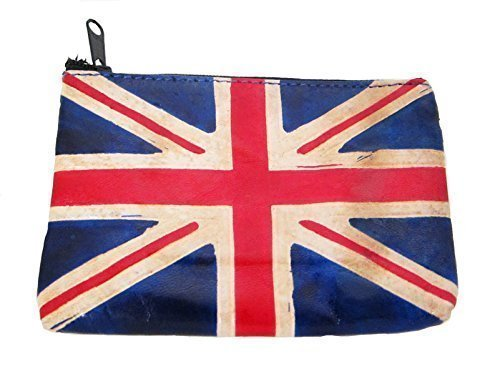 UNION JACK - BRITISH FLAG real leather coin purse 12 cm x 8 cm Double Duck 788