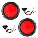 "2-Pack ""PEAKTOW"" 4"" Round Red LED Submersible Stop/Turn/Tail Lights For Car, Truck, Van, Trailer, RV, Boat With Grommets and Plugs - PTL0401"