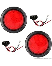 PEAKTOW PTL0401 Round Red 4 Inches LED Submersible Stop/Turn/Tail Lights Including Grommets and Plugs Pack of 2 (Red)