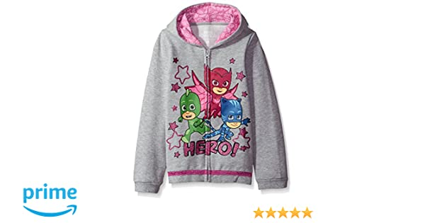 Amazon.com: PJ MASKS Big Girls Icon Print Zip up Hoodie, Heather Grey, 5: Clothing