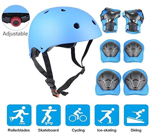 JIFAR Adjustable Helmet Protective Pads Knee Elbow Pads Wrist Guards Sports Support Safety Set Equipment Scooter Rollerblading Skateboard Other Extreme Sports Activities (7 Pieces Sets)